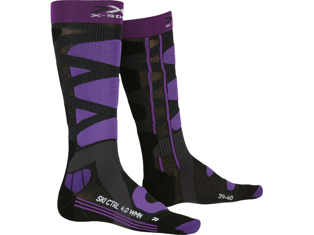 X-Socks Ski Control 4.0 Calze Donna, charcoal melange/purple